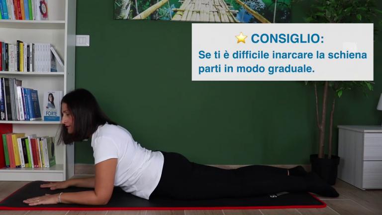 stretching posizione cobra lombosciatalgia acuta mal di schiena schiena forte nadia forte