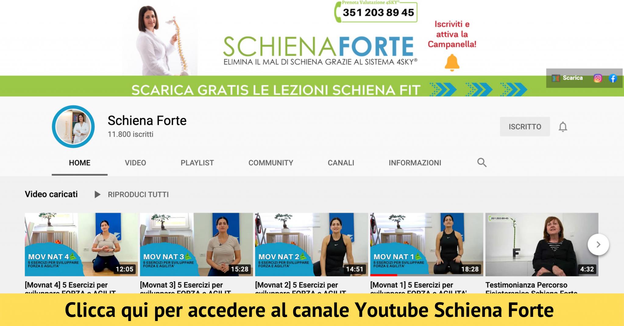 Schiena Forte Canale Youtube